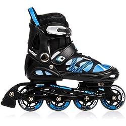 METEOR® AREA Patines en Línea | Niños | Mujer | Hombre | Inline Skates | ABEC7 de carbono | Tamaños ajustable | 30-33 / 34-37 / 38-41, Tamaño:L (38-41);Color:azul
