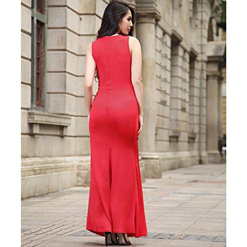 A fascia donne dell'annata elegante Paillette Top Stampa maniche matita Fit Maxi Piano Lunghezza abito da sposa abito da Fishtail Rosso