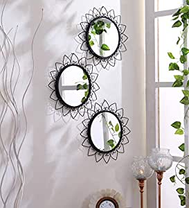 Hosley Decorative Round Iron Wall Mirror (30.48 cm x 30.48 cm x 1.27 cm, Black, Set of 3)