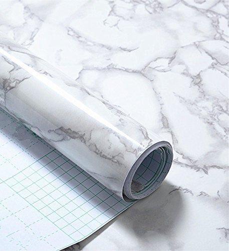 Grau Marmor Optik Kontakt Papier Glänzende Folie Vinyl Selbstklebende Rückseite Granit Wandregal rutschsicher Abziehen und Aufkleben Wand Aufkleber zum Abdecken Counter Top Küche Schrank (61x 200,7cm) (Faux Acryl Marmor)