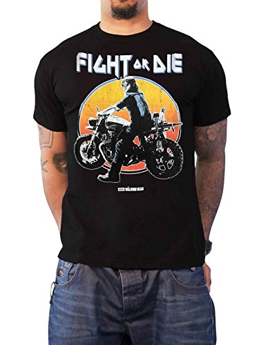 The Walking Dead T Shirt Daryl Retro Metal Fight Or Die Official Mens Black