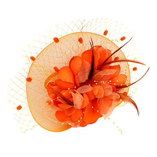 s Hut Floral Mesh Federn Haarspange Tea Party Cocktail Stirnband für Frauen Orange ()