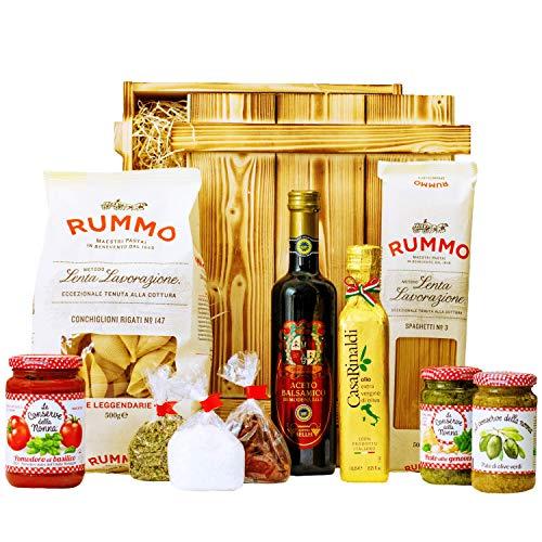 Geschenkset Pisa   Großer Geschenkkorb mit Holzkiste, Olivenöl und italienischen Spezialitäten -