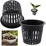 Hydroponic Planting Mesh Pot Net, Pack of 10 Plastic Basket Garden Plant Grow Cup (Black)
