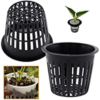 Hydroponic Planting Mesh Pot Net, Pack of 10 Plastic Basket Garden Plant Grow Cup (Black)