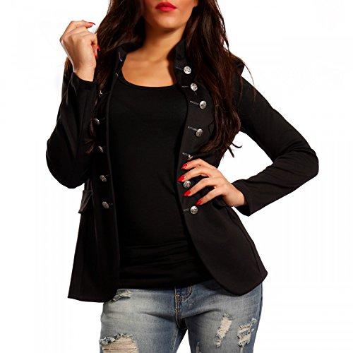 Damen Blazer Militäry Style , Farbe:Schwarz;Größe:38/M