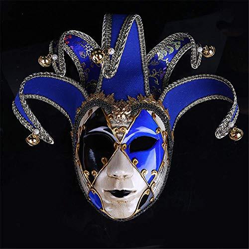 Wsjfc Vintage Clown Maske gemalt Halloween Party Masken venezianischen Jester Joker Maske Maskerade handgemalte Wand dekorative Mardi Gras Geschenk, schwarz,Blau (Mardi Gras Kostüm Geschichte)