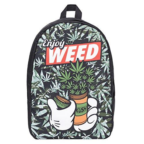 "Unisex bloger-Old School Daypack Retro zaino Vintage zaino zaino ragazza Hipster Bag Front Fullprint ""molti colori DOPE ENJOY WEED taglia unica"