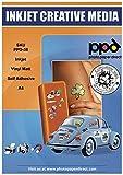 PPD DIN A4 Inkjet Vinylfolie Aufkleberfolie Stickerfolie für Tintenstrahldrucker weiß matt selbstklebend DIN A4 x 10 Blatt PPD-38-10
