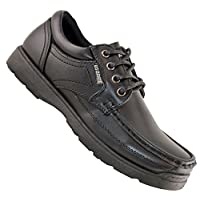Boys Kids New Lace Up Back To School Hard Wearing Formal Black Shoes Size 13-6