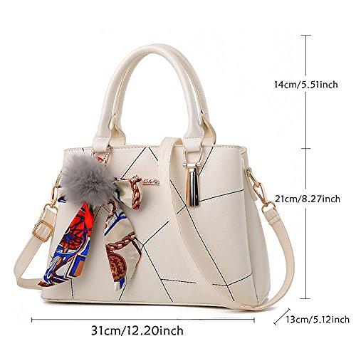 Borse e borse da spalla Borsa grande top Handle Satchel, borse a tracolla in pelle da donna, misura grande, con seta sciarpe, PU, Pink, Standard White