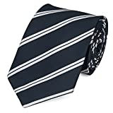 Fabio Farini Moderne Krawatte 8 cm in verschiedenen Farben, Blau Silber-Grau gestreift