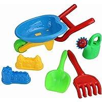6 Piece Beach & Garden Toys Childrens Play Set Spade Rake Sand Shapers Watering Can with Wheelbarrow