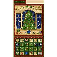 Temporada de felicitación árbol de Navidad Calendario de Adviento PANEL acolchado tela 40102