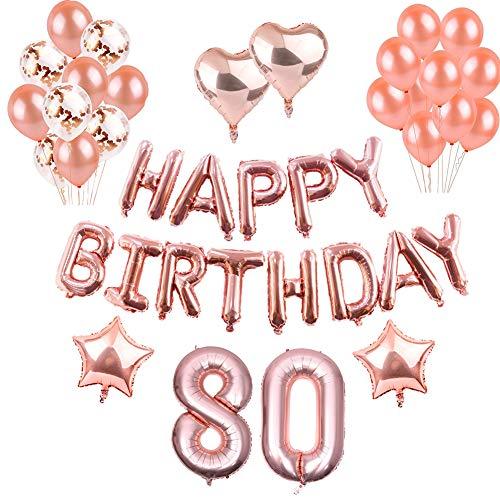 Geburtstag Dekorationen Rotgold, Luftballons Party Dekorationen Set, Rose Gold Alles Gute zum Geburtstag Banner Stern Herz Folie Ballon Konfetti Latex Ballons für Party Supplies (80th)
