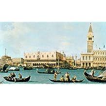 """Stampa artistica / Poster: Giovanni Antonio Canaletto """"Venedig, Dogenpalast und Marcusplatz vom Bacino di San Marco"""" - stampa di alta qualità, immagini, poster artistici, 90x55 cm"""