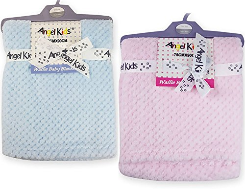 Bébé Fille/Garçon Ultra doux gaufré Couverture/Wrap. Choix de rose ou bleu