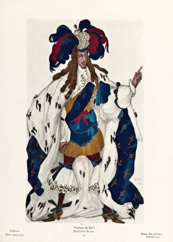 Vintage Ballett Leon Bakst Kostüm Du Roi, Kostüm Du Roi, von aurelien-francois lugne-poe, 1924. 250gsm, Hochglanz, A3, vervielfältigtes Poster