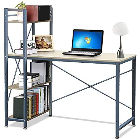 tinkertonk Wood Computer Workstation Desk with 4 Tier Storage Shelving for Home Office Study Room Furniture
