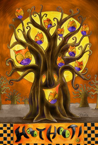 Toland Home Gartenhaube 71 x 101,6 cm Deko Herbst Eule Vogel Halloween Baum Haus Flagge