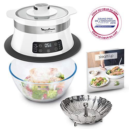 Moulinex Steam'up Cuiseur Vapeur Recettes Savoureuses Simple et Compact Cuisine Saine Gourmande VJ504010 (saladier non inclus)