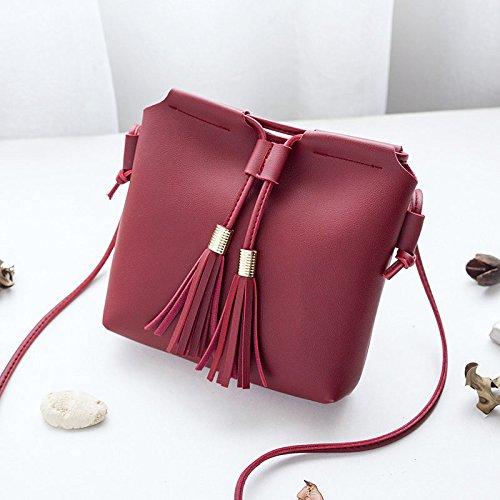 Espeedy Mini Frauen Münztasten Telefon Schultertasche PU Leder Handtasche mit Quaste Bucket Bags Rot