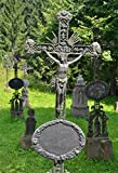 YongFoto 1x1,5m Foto Hintergrund Alte Grabsteine Kreuz Statuen Skulptur Gras Feld Bäume Sonnenschein Natur Fotografie Hintergrund Fotoshooting Portrait Party Kinder Hochzeit Fotostudio Requisiten