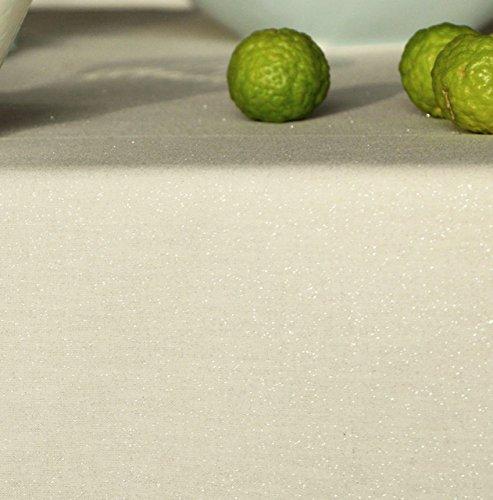 Fleur de soleil Nappe Paillettes Argent Coton Enduit Sable 160x300