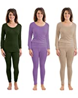 Set Of 2 Colours Womens Thermal Underwear Set Long Sleeve Vest & Pants, Emerald, Lilac & Beige