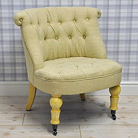Antique French Vintage Style Linen Upholstered Button Back Bedroom Sofa Occasional Accent Chair