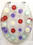 Mixed Multi Coloured Flower Floral Clear Resin Toilet Seat