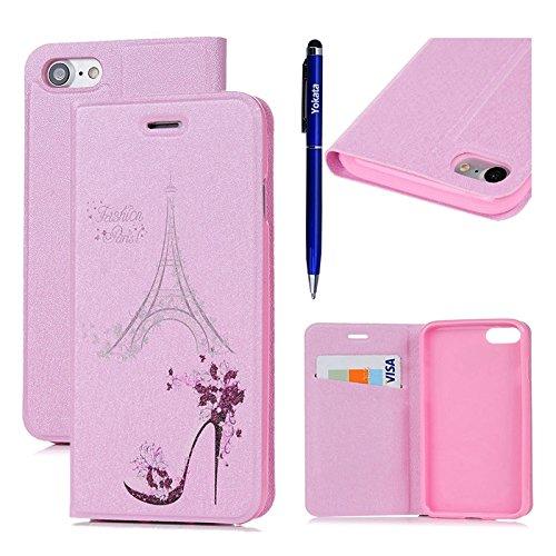 iPhone 7 Hülle, Yokata PU Lederhülle Flip Case mit High Heels Motif Kartenfach Brieftasche Magnet Cover + 1*Stylus Pen - (Hello Heels Kitty Schuhe High)