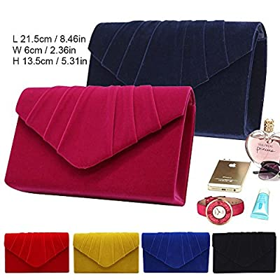 Wocharm Brand New Luxury Womens Ladies Pleated Suede velvet Clutch Bag Handbag Bridal Evening Prom Party