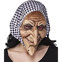 Maschera Strega con sciarpa, lattice maschera completa, maschera viso,