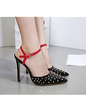 KHSKX-Verano Negro 8.5Cm Solo Zapatos Shallow Vogue Remache Zapatos De Tacon Fino Afilados Tacones Sandalias Una...