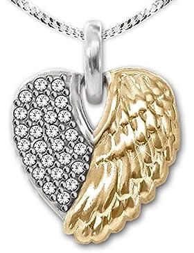 CLEVER SCHMUCK-SET Silberner Herz Anhänger 14 mm gekreuzte Engelsflügel mit Zirkonias, eine Flügelseite teilvergoldet...