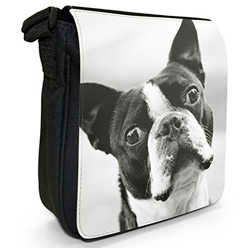 Boston Terrier Boston Bull Bosso piccolo nero Tela Borsa a tracolla, taglia S Black & White Boston Terrier