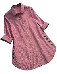 Overdose Casual Frauen Stehkragen Langarm beiläufige lose Tunika Tops T Shirt  Bluse Damen Sommer Herbst Langarmshirt 9d758e2dad
