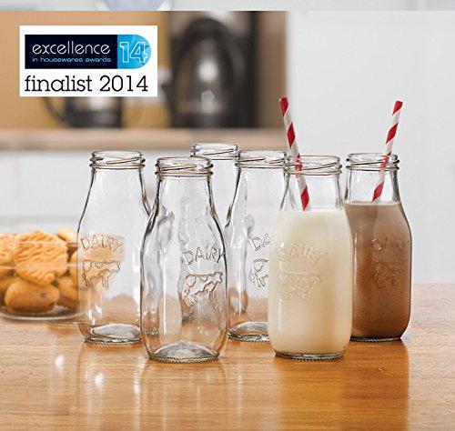 Eddingtons Lot de 6 Mini-bouteilles de lait en verre pour enfant