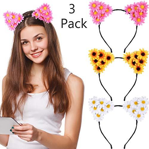 3 Stücke Daisy Blume Katze Ohren Stirnbänder Sunflower Stirnband Gänseblümchen Floral Stirnband für Damen Mädchen Halloween Festival Party Requisiten