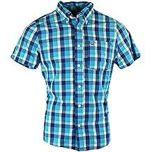 Hollister - Camisa casual - con botones - Cuadrados - Manga corta - para hombre
