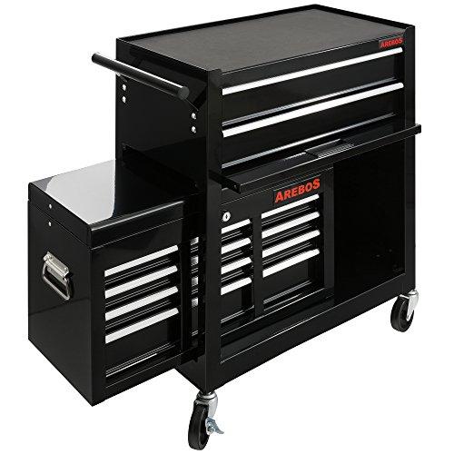 Arebos Werkstattwagen 9 Fächer/zentral abschließbar/Anti-Rutschbeschichtung/Räder mit Festellbremse/Massives Metall/rot oder schwarz (Schwarz) - 3