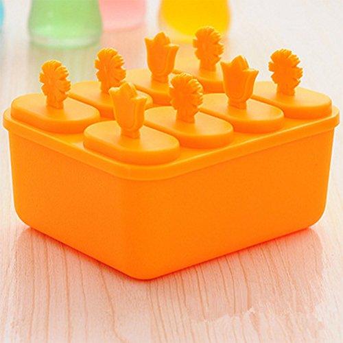 macht Form Eis Form Maker Ice Form Kugel Candy Formen Ice Cube Tabletts Kunststoff mit Schale Deckel für Bars Hotels Restaurants Home Bedürfnisse Orange (Neuheit Wiederverwendbare Ice Cubes)