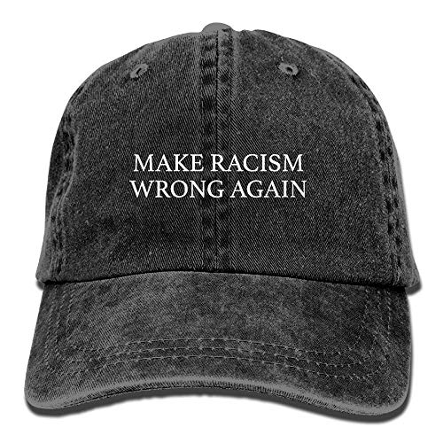 Men's/Women's Make Racism Wrong Again Denim Fabric Baseball Cap Adjustable Street Rapper Hat Plaid Hat Earflap