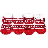 Calcetines antideslizantes de algodón con estampado de huellas de perro y copo de nieve, de Navidad