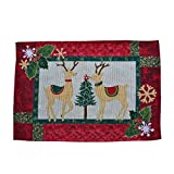 Embroidered Table Placemat Christmas Table Dinner Decoration Reindeer