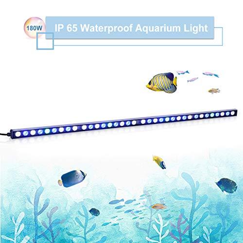 TOPLANET 180w Aquarium Beleuchtung LED Meerwasser Lampe Blau Weiß Licht für Nano Fisch Tank Koralle/Wasserpflanze/Zierfische Wachstum 115cm