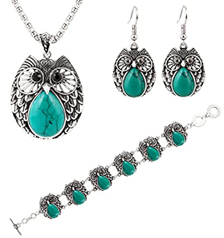 SaySure - Owl Jewelry Sets Silver Plated Turquoise