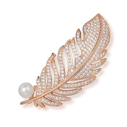 Wonvin Damen Schale Perle Brosche Pins Engel Flügel Feder 18 Karat vergoldet für Frauen