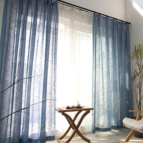 Preisvergleich Produktbild GUOCAIRONG® Moderne Tüllvorhänge Natürliche Nostalgische Leinen Tüll Vorhänge Flachs Material Draht Netting Gaze Wohnzimmer Balkon Fenster Schirm Vorhang Vorhänge 1 Stk , blue , 2*2.7m
